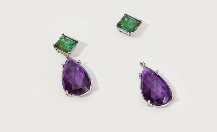 Earrings, tourmaline 30,46 ct. with detachable amethyst drops 51,86 ct., platinum and diamonds 0,04 ct.