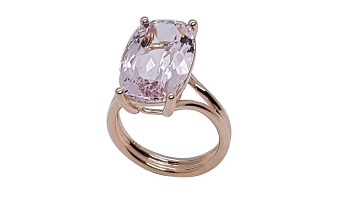 Ring, Rose Gold, Morganite 9.68 cts. with certificate