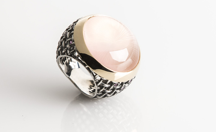 Sphere Ring, Rose Gold, Silver, Rose Quartz Cabochon with 'Sun' engraving, pink Sapphires